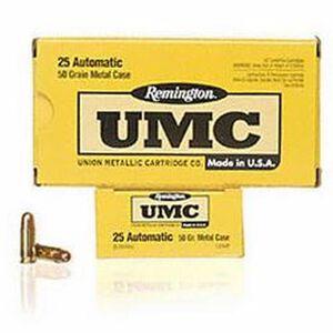 Remington .25 ACP UMC Ammunition 50 Rounds FMJ 50 Grains