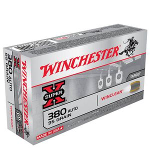 Winchester Super-X WinClean .380 ACP Ammunition 95 Grain Jacketed Soft Point 955 fps