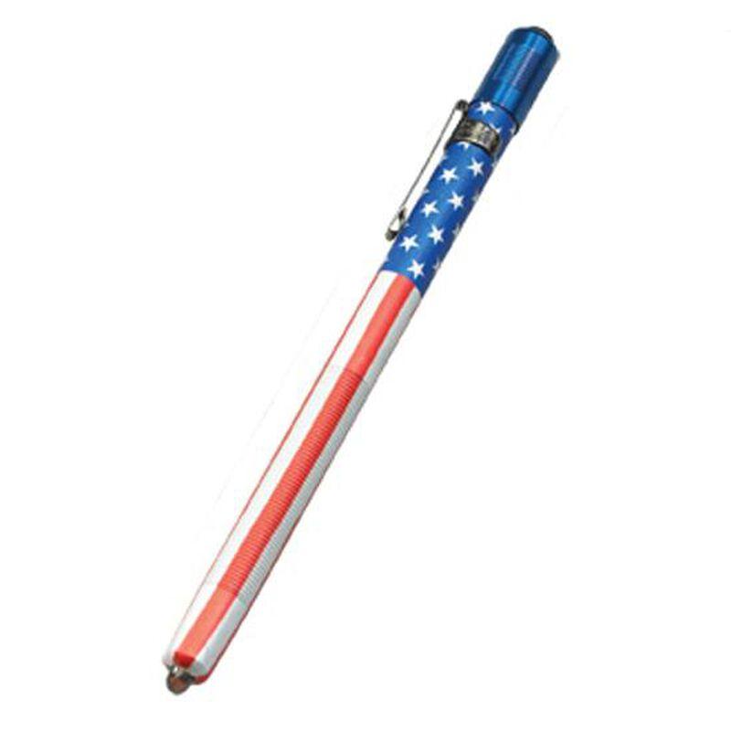 Streamlight Stylus Pen Flashlight Dual Output Arctic White LED 11 Lumen 3x AAA Battery Click Type Switch Aluminum Body USA Flag 65080