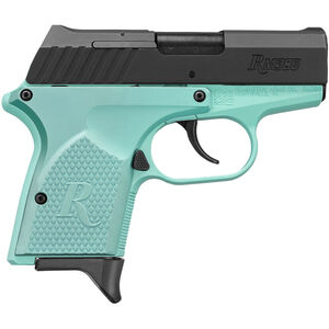 "Remington RM380 Semi Auto Pistol .380 ACP 2.9"" Barrel 6 Rounds Two Tone Light Blue Frame and Grips with Black Slide Finish"