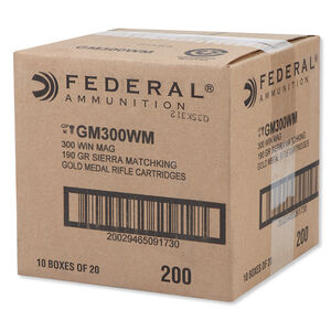 Federal .300 Winchester Magnum Ammunition 200 Rounds SMK BTHP 190 Grains