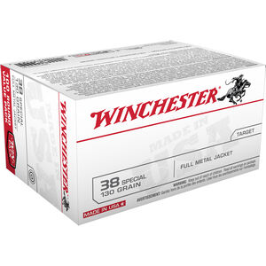Winchester USA .38 Special Ammunition 100 Rounds, FMJ, 130 Grains
