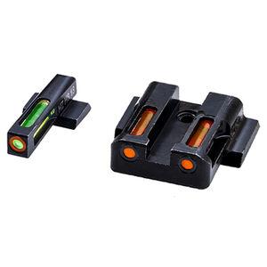 HiViz Litewave H3 Tritium/Litepipe fits S&W M&P Models Green Front Sight with Orange Front Ring/Orange Rear Sight Steel Housing Matte Black