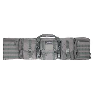 """Drago Gear 42"""" Double Gun Case Padded Backpack Straps Large Storage Pouches 600D Polyester SEAL Gray 12-323 GY"""