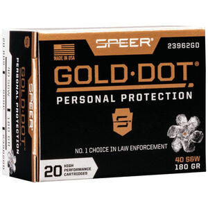 Speer Gold Dot Short Barrel Personal Protection .40 S&W Ammunition 20 Rounds 180 Grain GDHP 950fps
