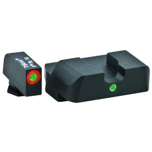 AmeriGlo Pro GLOCK 20, 21, 29, 30, 31, 32, 36 I-Dot Sight 2 Dot ProGlo Green Front with Orange Outline, Green Rear