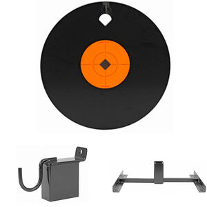 "Birchwood Casey 8"" Steel Target Range Pack AR 500 8"" Single Hole Steel Gong with 2 in 1 Hanger and Base Matte Black"