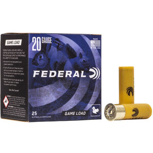 "Federal Game Load Upland 20 Gauge Ammunition 2-3/4"" #6 Lead Shot 7/8oz 1210 fps"