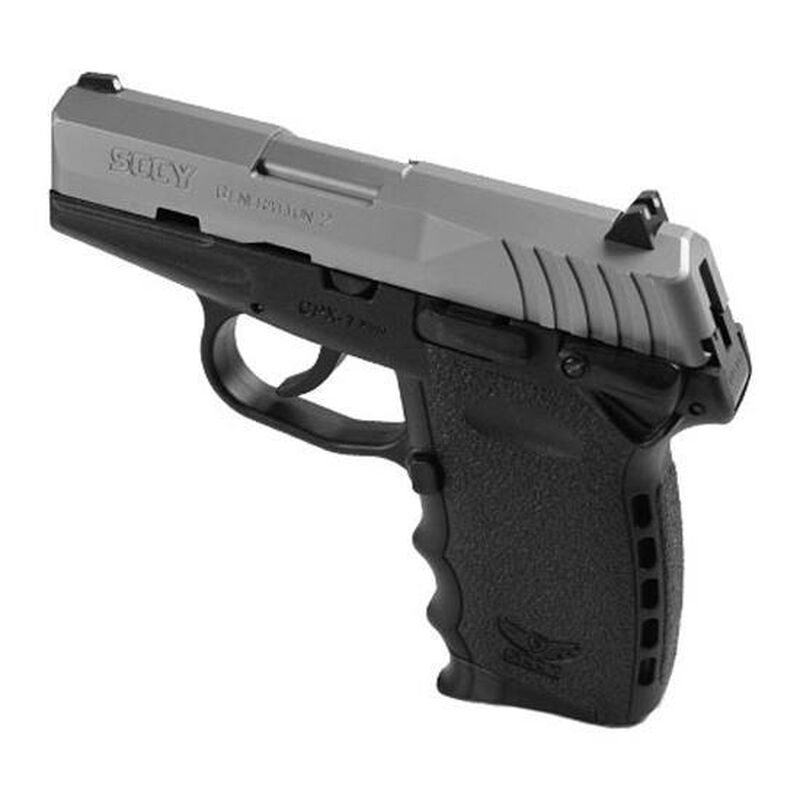 """SCCY CPX-1 Semi Auto Pistol 9mm Luger 3.1"""" Barrel 10 Rounds Black Polymer Frame Natural Stainless Slide Finish with Manual Safety GCPX1TTFC"""