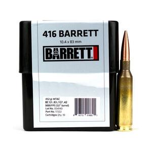 Barrett .416 Barrett Ammunition 10 Rounds 452 Grain MTAC CEB 3005 fps
