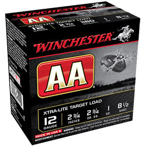 "Winchester USA AA Xtra-Lite Target Load 12 Gauge Ammunition 2-3/4"" #8.5 Lead Shot 1 oz 1180 fps"