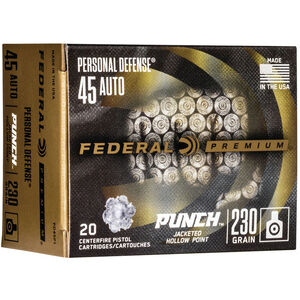 Federal Punch .45 ACP Ammunition 230 Grain JHP Nickel Plated Brass Case 890fps