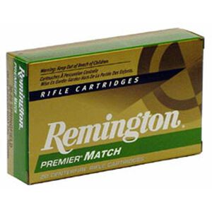 Remington Premier Match .308 Winchester Ammunition 20 Rounds 168 Grain Sierra MatchKing Boat Tail Hollow Point Projectile 2680fps