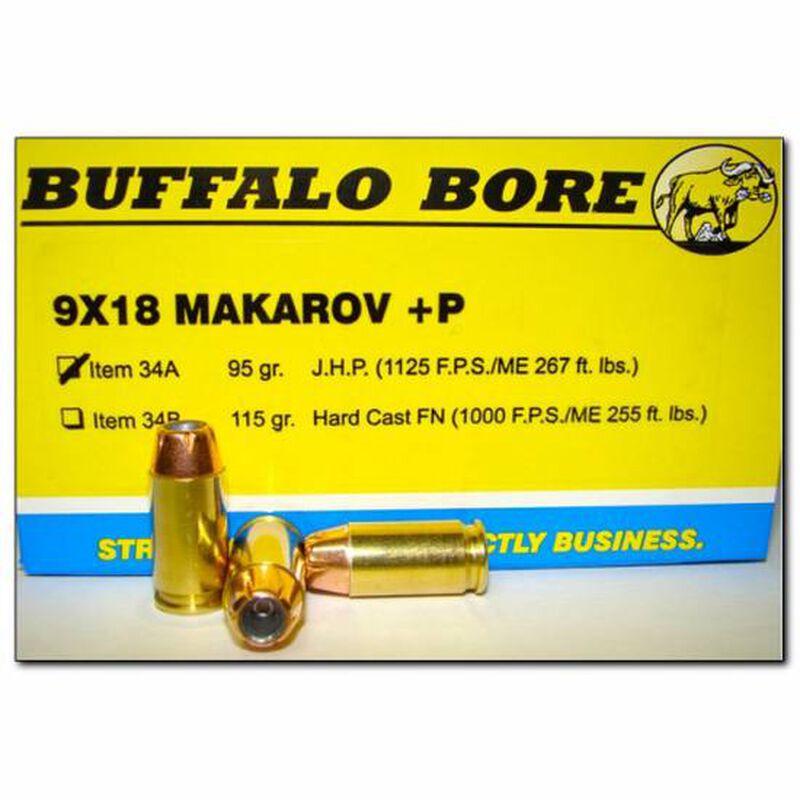 Buffalo Bore 9x18 Makarov +P Ammunition 20 Rounds JHP 95 Grain 34A/20