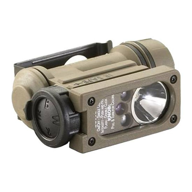 Streamlight Sidewinder Compact II Hands-free Light Multicolor/IR LED 55 Lumens Helmet and Rail Mount Included AA/CR123A Polymer Tan