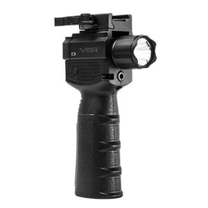 NcSTAR Vertical Grip with Strobe Flashlight and Green Laser 200 Lumens CREE LED Bulb CR 123A Battery x2 Picatinny Mount Toggle Switch Black
