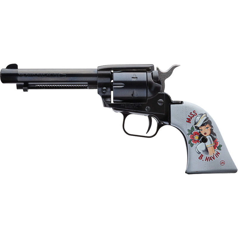 "Heritage Rough Rider Pin Up Girls .22 LR Single Action Rimfire Revolver 4.75"" Barrel 6 Rounds TALO Exclusive Miss B Hav'in Synthetic Grips Blued"