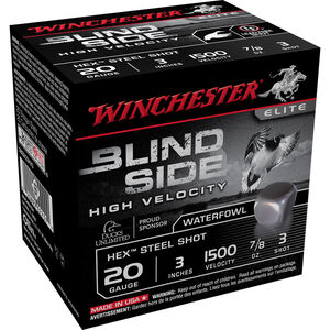 "Winchester Blind Side High Velocity 20 Gauge Ammunition 25 Round Box 3"" #3 Hex Steel Shot 7/8 oz 1500 fps"