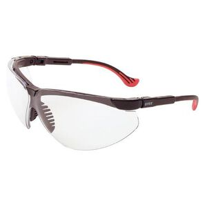 Uvex Genesis Safety Glasses Clear Lenses Spatula Temples Black/Red S3301