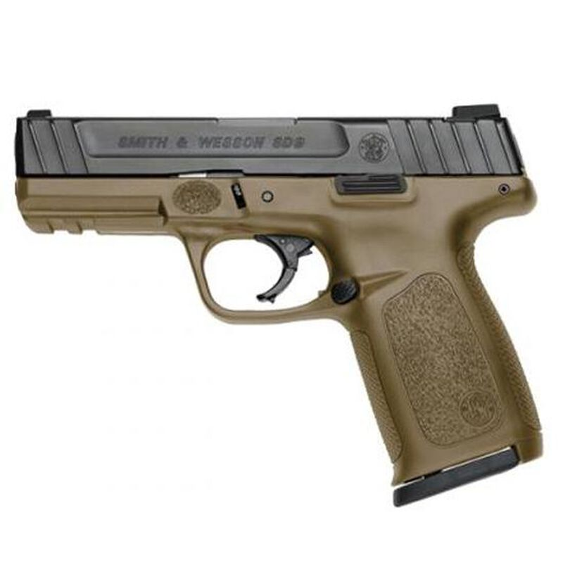 """Smith & Wesson SD9 Semi Automatic Pistol 9mm Luger 4"""" Barrel 16 Rounds Fixed 3 Dot Sights Black Slide/FDE Frame Finish"""