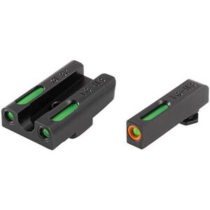 TRUGLO TFX Pro GLOCK 42/43 Front and Rear Set Green TFO Night Sights Orange Ring Steel Black TG13GL3PC