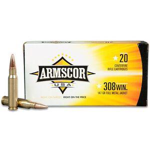 Armscor USA .308 Winchester Ammunition 20 Rounds FMJ 147 Grains F AC 308-1N