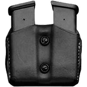 DeSantis Double Mag Pouch GLOCK 43 Single Stack Sub Compact OWB Magazine Holster Ambidextrous Vertical or Horizontal Leather Black