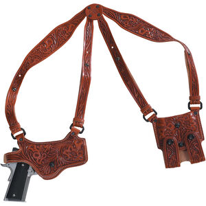 EPS Spyder Shoulder Holster Rig SIG 220/226 Right Hand Floral Carved Brown