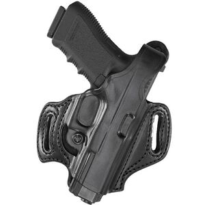 Aker Leather 168 FlatSider XR12 Belt Slide Holster SIG Sauer P220/P226 Right Hand Leather Plain Black