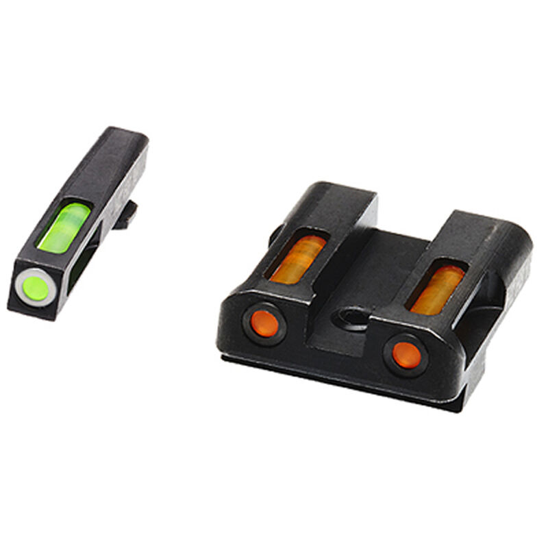 HiViz Litewave H3 Tritium/Litepipe fits GLOCK 45ACP/.45GAP/10MM Auto Models Green Front Sight with White Front Ring/Orange Rear Sight Steel Housing Matte Black