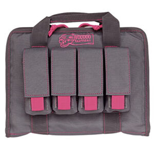 "Voodoo Tactical Pistol Case with Magazine Pouches 12"" x 9"" x 2"" Full Padding Nylon Gray Pink"