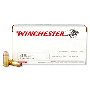 Winchester USA .45 ACP Ammunition 230 Grain JHP 880 fps 50 Rounds