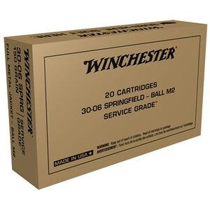 Winchester USA Service Grade .30-06 Springfield Ammunition 20 Round Box 150 Grain M2 Ball FMJ 2740fps