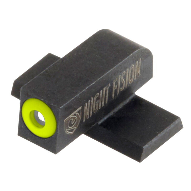 Night Fision Perfect Dot Tritium Front Sight Only Springfield XD/XD(M)/XD Mod 2/XD-S/XD-E Front Sight Green Tritium Front Yellow Outline Metal Body Black Nitride Finish