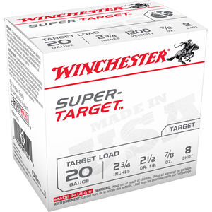 "Winchester Super-Target 20 Gauge Ammunition 100 Round Value Pack 2-3/4"" #8 Lead 7/8 Ounce 1200 fps"
