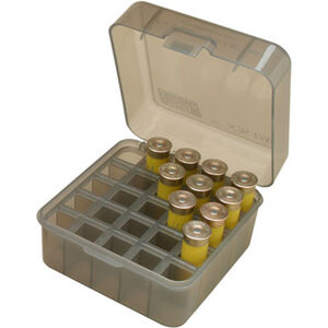 "MTM Case-Guard Dual Gauge Shotshell Case 12/16/20 Gauge 3.00"" Shot Shells Holds 25 Rounds Clear Smoke"