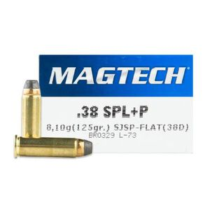 Magtech .38 Special +P Ammunition 50 Rounds SJSP 125 Grains 38D