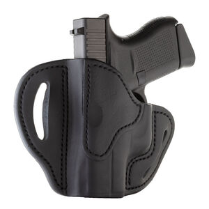 1791 Gunleather Open Top Multi-Fit OWB Belt Holster for Sub Compact Semi Auto Models Left Hand Draw Leather Black