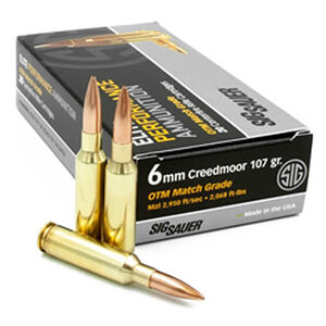 SIG Sauer Elite Match Grade 6mm Creedmoor Ammunition 20 Rounds 107 Grain Open Tip Match 2950fps