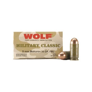 Wolf Military Classic 9x18 Makarov Ammunition 50 Rounds 94 Grain Full Metal Jacket Steel Cased Bi-Metal Jacket 1014fps