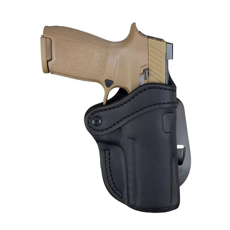 1791 Gunleather Optic Ready Open Top Multi-Fit 2.4 OWB Paddle Holster for Full Size Large Frame Semi Auto Models Right Hand Draw Leather Stealth Black