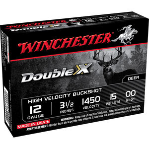 "Winchester Double X 12 Gauge Ammunition 5 Rounds 3-1/2"" Shell 00 Buck Plated 15 Pellets 1450 fps"
