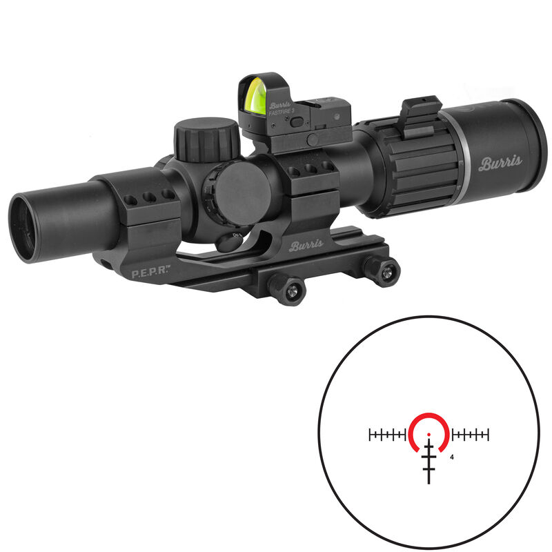 Burris RT-6 1-6x24mm Riflescope Combo Illuminated Ballistic AR Reticle 30mm Tube With FastFire 3 Reflex Red Dot Sight 3 MOA P.E.P.R. Mount Picatinny Rail Mount Matte Black