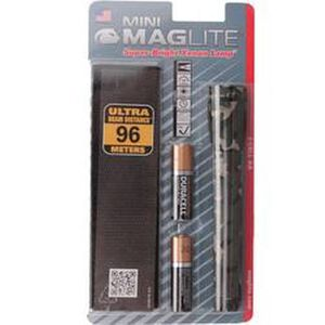 Maglite Mini Maglite Xenon Flashlight 14 Lumens 2x AA Batteries Twist Switch Pocket Clip and Holster Aluminum Body Camo Finish M2A02H