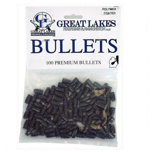 "Great Lakes Bullets .38/357 Caliber .358"" Diameter 130 Grain Cast Lead Round Nose Flat Polymer Coated Point Bullets 100 Pack"