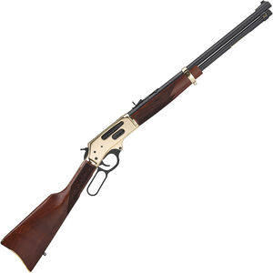 "Henry Repeating Arms Side Gate .45-70 Gov Lever Action Rifle 20"" Barrel 4 Rounds Tube Magazine Adjustable Rear Sight Walnut Stock Brass/Blued Finish"