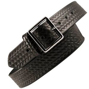 "Boston Leather 6505 Leather Garrison Belt 44"" Nickel Buckle Basket Weave Leather Black 6505-3-44"