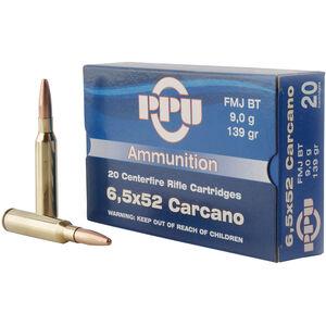 Prvi Partizan PPU Metric 6.5x52 Carcano Ammunition 20 Rounds 139 Grain FMJ BT 2525fps