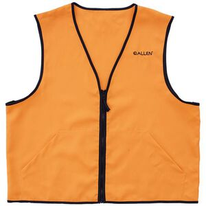 Allen Deluxe Blaze Orange Hunting Vest XXL Standard Fit Heavy Duty Zipper Two Large Pockets Polyester High Visibility Orange