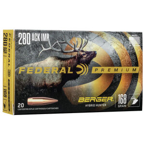 Federal Premium Berger Hybrid Hunter .280 Ackley Improved Ammunition 20 Rounds 168 Grain Berger Hybrid 2800fps